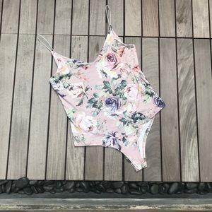 Gaze | Pink Rose Print Spaghetti Strap Body Suit